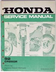 1992 Honda CR250R Factory Service Manual CR250 Original Shop Repair