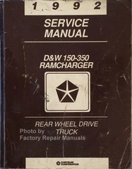 1992 Service Manual D&W 150-350 Ramcharger