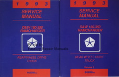 1993 Service Manual D&W 150-3650 RamCharger Rear Wheel Drive Truck