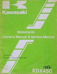 1982 Kawasaki KDX450-A1 KDX 450 Owners Service Manual - Original Shop Repair