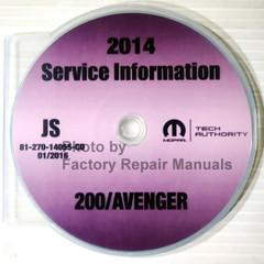 2014 Chrysler 200 Dodge Avenger Mopar Service Information CD