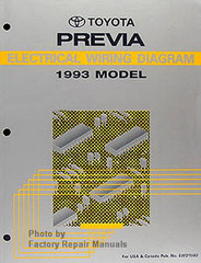 1992 Toyota Previa Mini Van Electrical Wiring Diagrams Original Manual Factory Repair Manuals