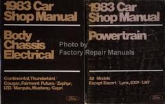 1983 Car Shop Manual Continental, Thunderbird, Cougar, Fairmont, Futura, Zephyr, LTD, Marquis, Mustang, Capri