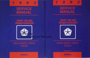 1993 Service Manual D&W 150-3650 RamCharger Rear Wheel Drive Truck