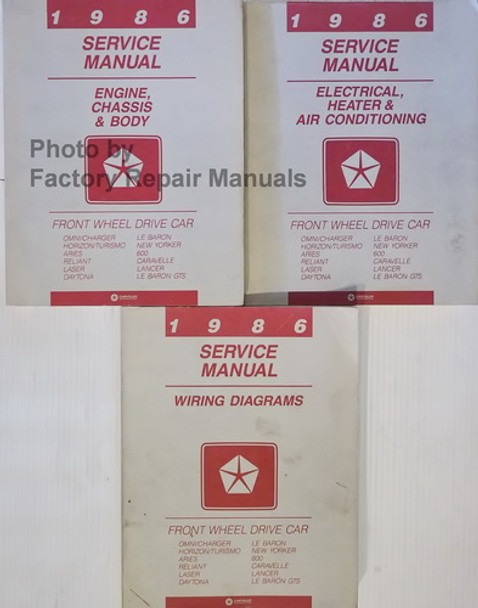 1986 Service Manual Chrysler Front Wheel Drive Car Volume 1, 2, 3
