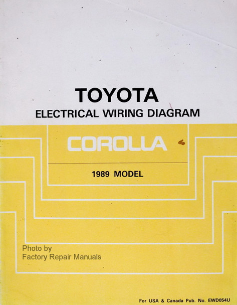 1989 Toyota Corolla Electrical Wiring Diagrams Manual