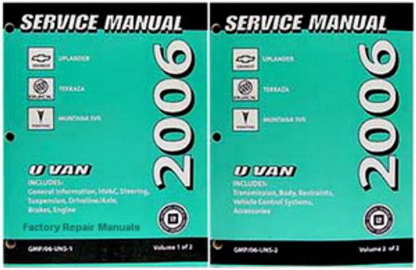 2006 Chevrolet Uplander Buick Terraza Pontiac Montana SV6 Service Manual Volume 1, 2