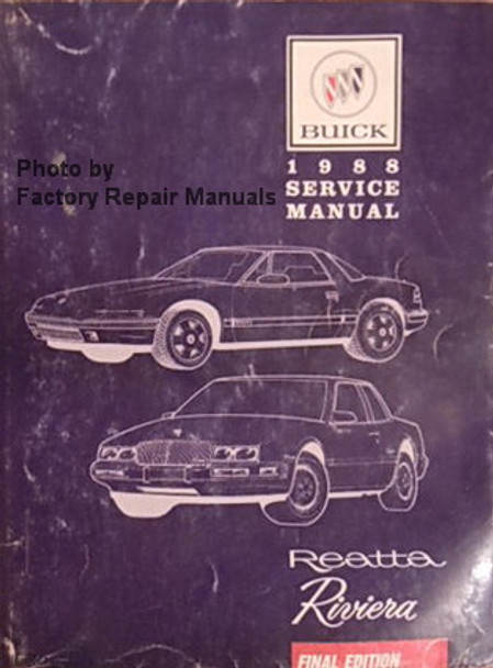 1988 buick riviera and reatta factory service manual. Black Bedroom Furniture Sets. Home Design Ideas