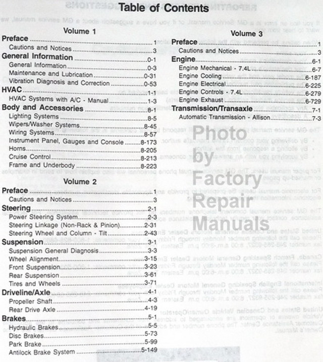 1998 GM P12 Motorhome Chassis Factory Service Manual Set