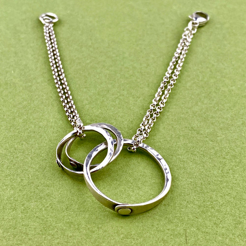 17-0421.09 3 Ring Riveted Bracelet/Necklace
