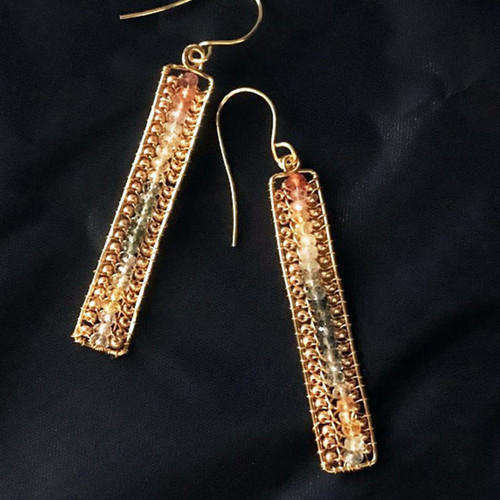 22-1021.25  Rectangular Gemstone Earrings
