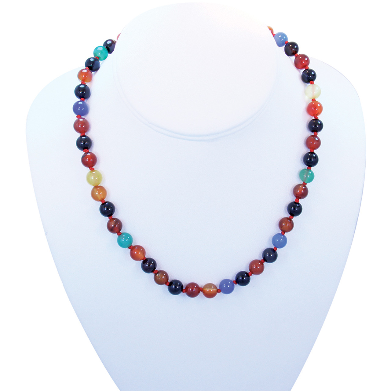 Multi Color Flower Agate Necklace With Charm