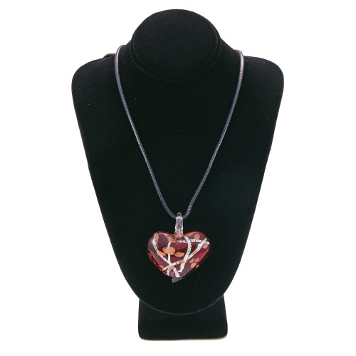 Red Hand Blown Glass Heart Necklace