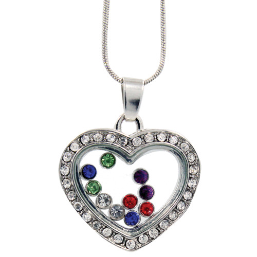 Heart Necklace with Floating Crystals