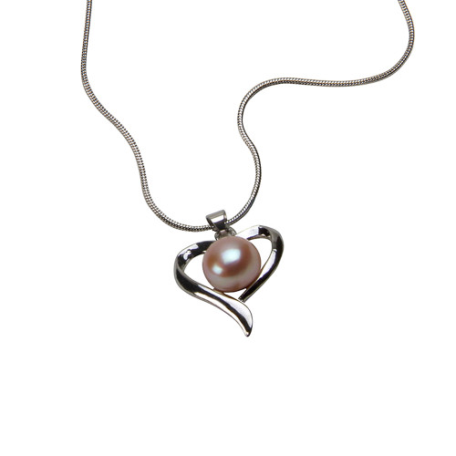 Pink Freshwater Pearl Heart Necklace