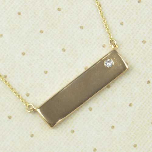 Gold Bar Necklace with Crystal from Swarovski®