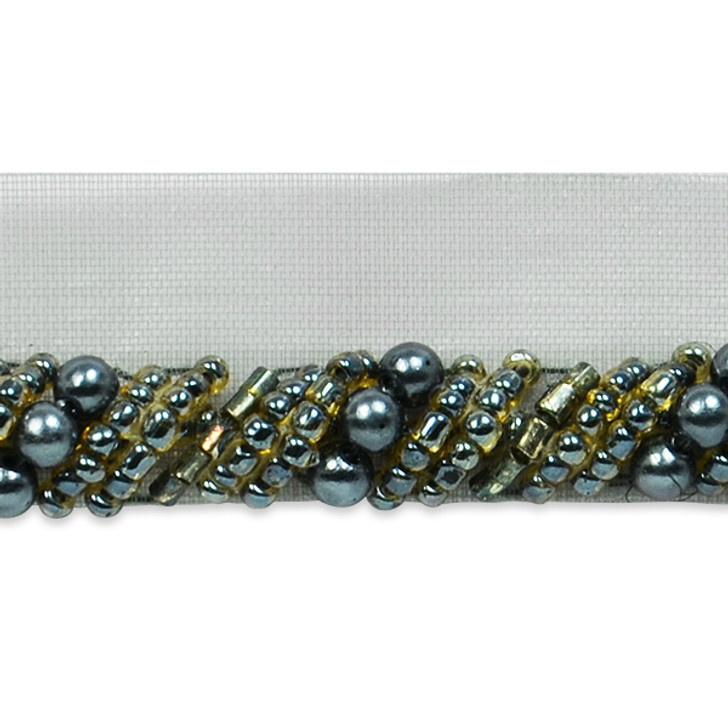 Spiral Beaded Cord Trim with Lip - Pewter Multi
