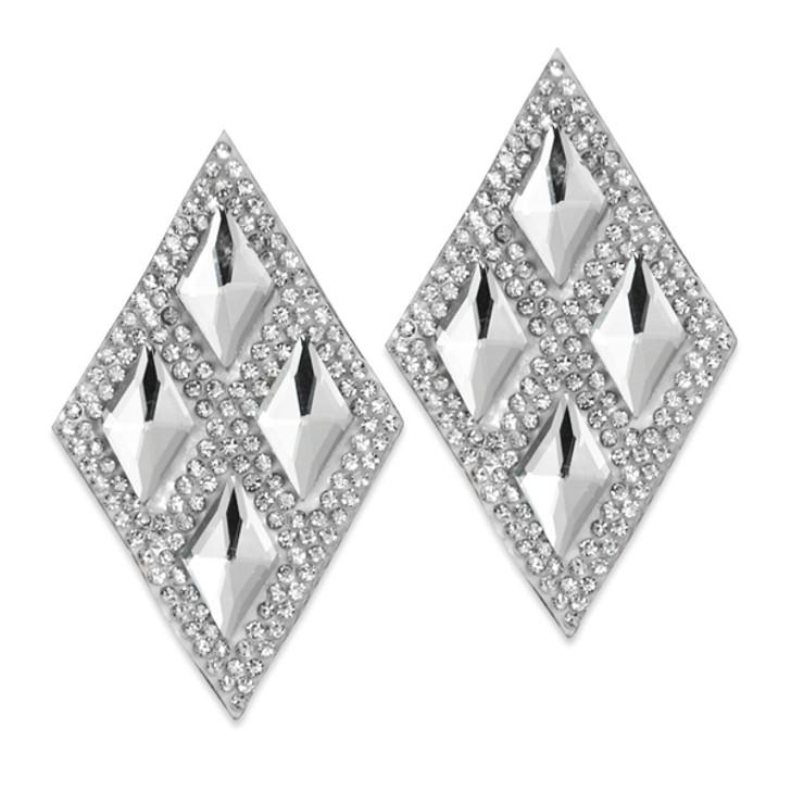 Diamond Shape Iron-on Rhinestone Applique 2 PK