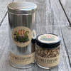 Solvang Spice loose leaf tea 2 cup metal tin and 1/2 half cup glass jar sizes side by side