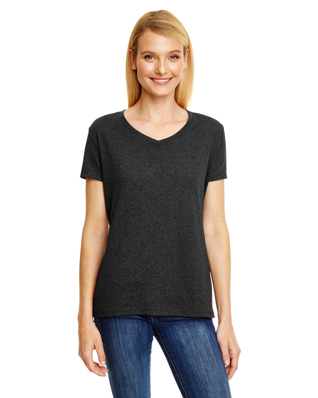 bd01b303 Hanes 42VT Ladies' X-Temp® Triblend V-Neck T-Shirt - ClothingAuthority.com