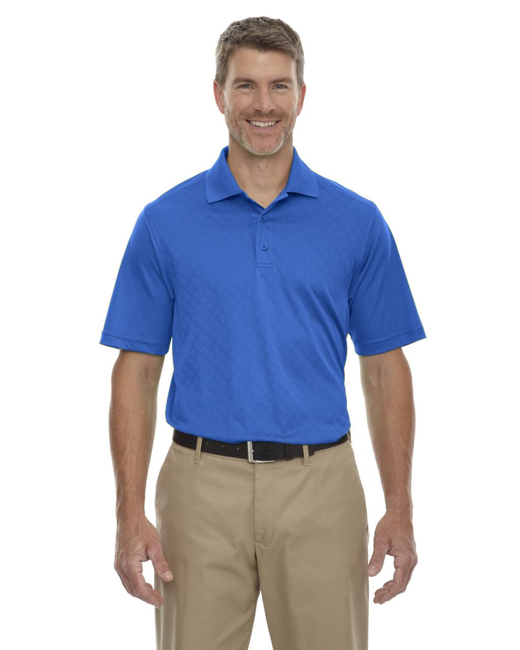 Monarch Blue Ash City Mens Mens Jacquard Pique Polo Shirt S