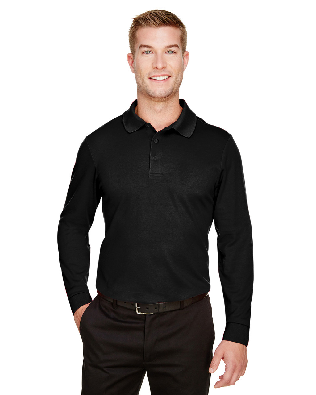 7912d0052 Devon & Jones DG20LT CrownLux Performance™ Men's Tall Plaited Long Sleeve  Polo - ClothingAuthority.com
