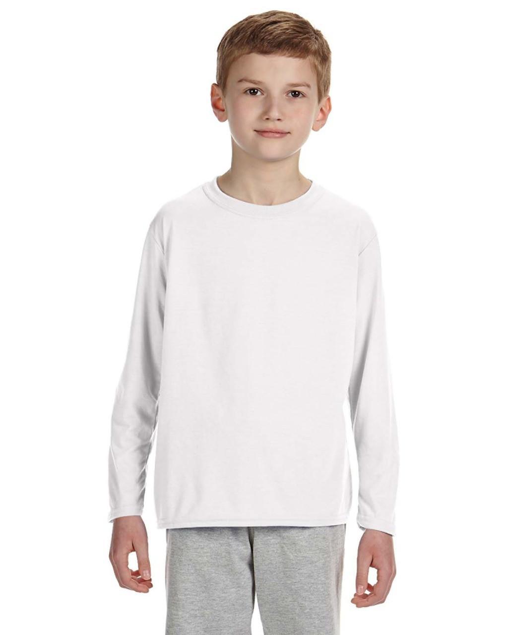 G240B Ultra Cotton Long-Sleeve T-Shirt Gildan Boys 6.1 oz -Light Blue -XL-12PK