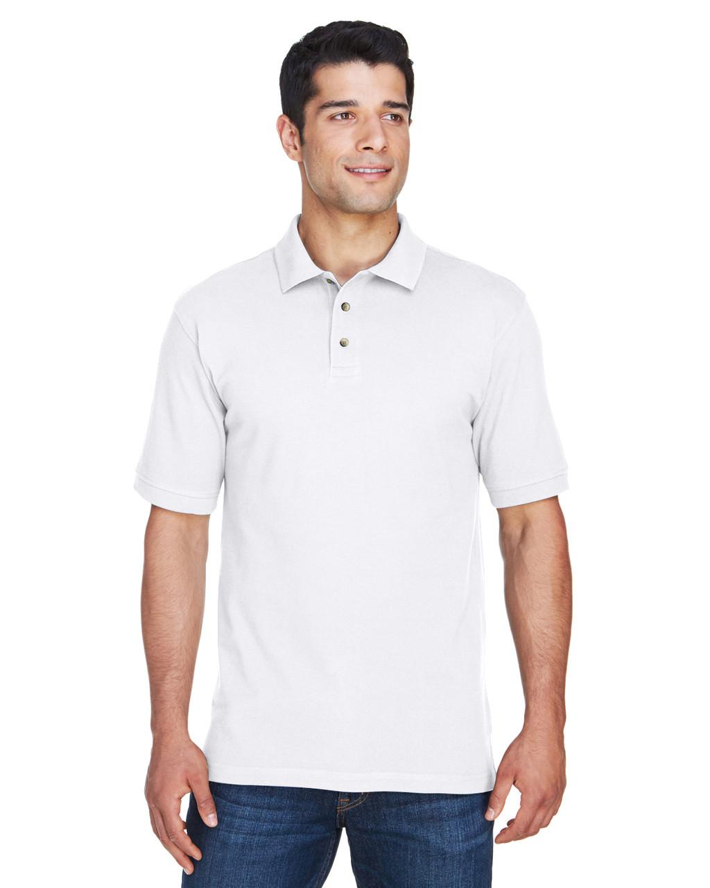 Ringspun Cotton Pique Short-Sleeve Polo L Harriton Boys 6 oz - Light College Blue M200Y