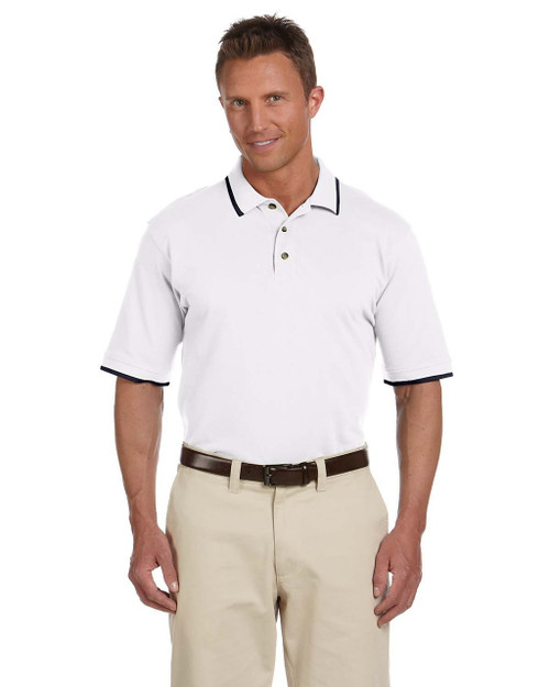 Ringspun Cotton Pique Short-Sleeve Polo L Harriton Boys 6 oz - Wine M200Y
