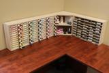 Craft room corner desk storage shelving
