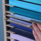 Craft paper organization with labels for craft studios
