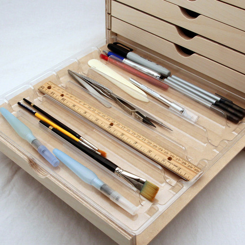 6 slot tool tray for art and craft tools storage