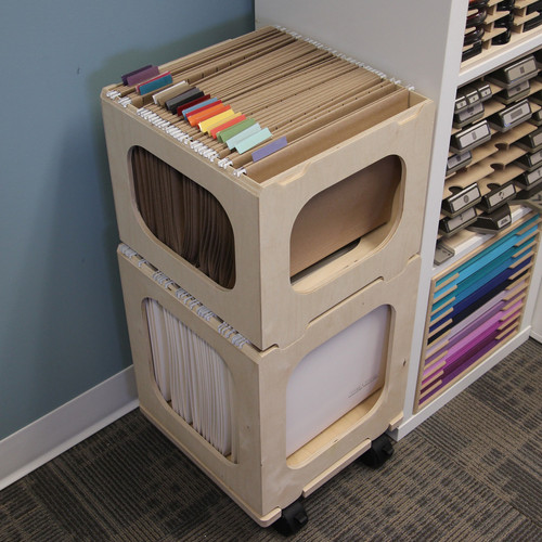 paper crate for craft paper storage in hanging file folders