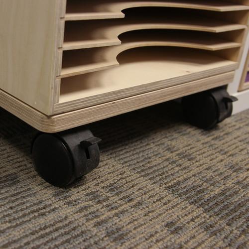 Craft room rolling base for drawer cabinet organization