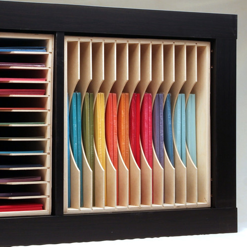 Add a 12x12 Paper Holder to your IKEA® Kallax shelf unit for maximum paper storage!