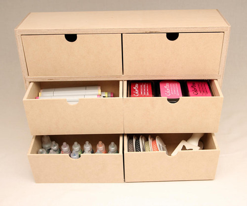 The drawers are deep enough to store many types of craft supplies.