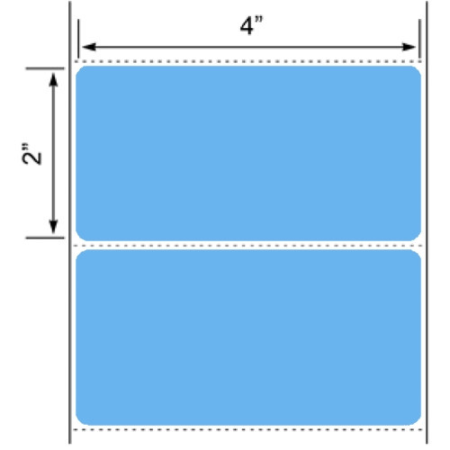 """4x2 Blue Floodcoated Direct Thermal Labels 3"""" Core"""