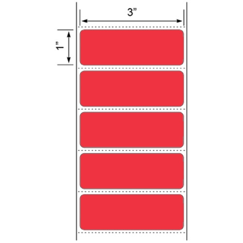 """3x1 Red Floodcoated Direct Thermal Labels 1"""" Core"""