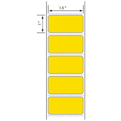 """1.5x1 Yellow Floodcoated Direct Thermal Labels 1"""" Core"""