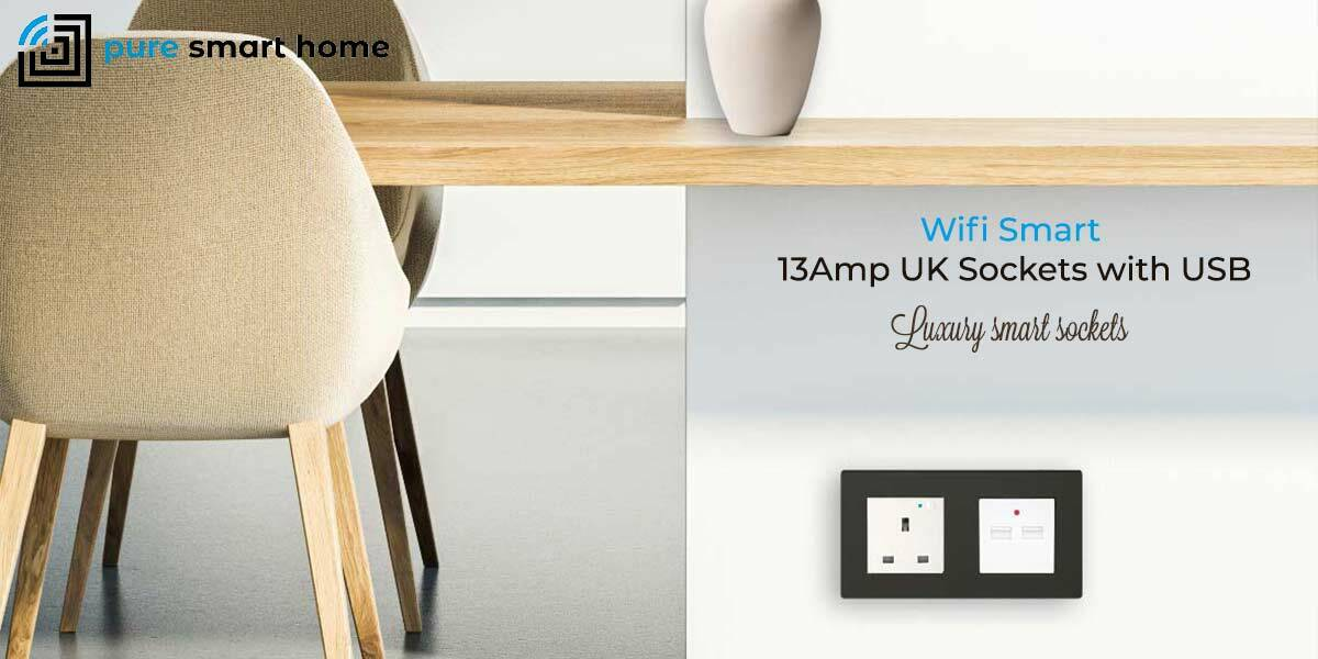 Pure Glass Wifi Smart 13Amp Sockets with USB