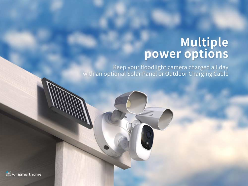 Solar powered wifi smart camera with security lights