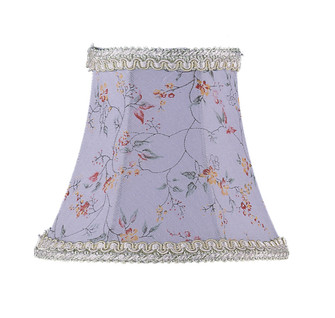 Sky Blue Floral Print Bell Clip Shade with Fancy Trim (108 S274)