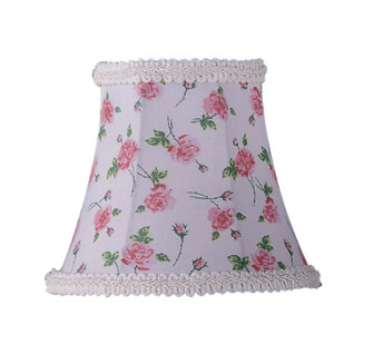 White Floral Print Bell Clip Shade with Fancy Trim (108 S273)