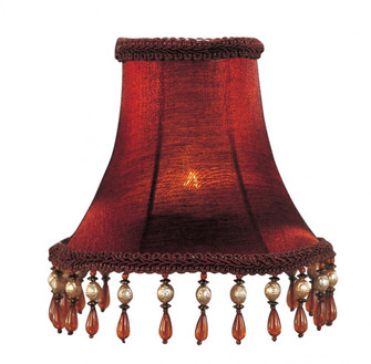 Red Silk Bell Clip Shade with Amber Beads (108 S158)