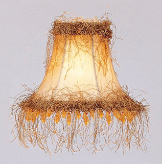 Champagne Silk Bell Clip Shade with Light Corn Silk Fringe and Beads (108 S112)