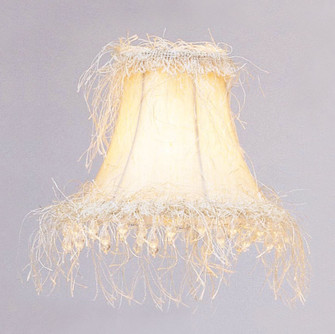 Off White Silk Bell Clip Shade with Corn Silk Fringe and Beads (108 S106)