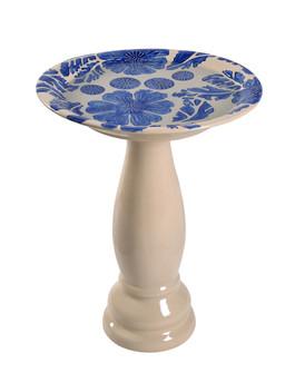 Brandy Blue Glazed Birdbath (67 51085BLU)