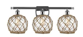Farmhouse Rope 3 Light Bath Vanity Light (3442 516-3W-PC-G122-8RB-LED)