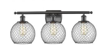 Farmhouse Chicken Wire 3 Light Bath Vanity Light (3442 516-3W-OB-G122-8CBK-LED)