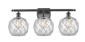 Farmhouse Rope 3 Light Bath Vanity Light (3442 516-3W-BK-G122-8RW-LED)